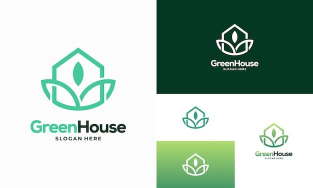 Einfache moderne kontur green house logo entwirft konzeptvektor, eco real estate logo entwirft symbolsymbol