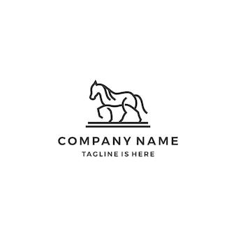 Einfache monoline gliederung zu fuß pferd linie kunst logo vorlage vektor-illustration