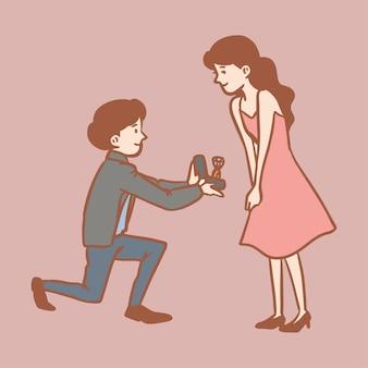 Einfache niedliche illustration des romantischen vorschlags
