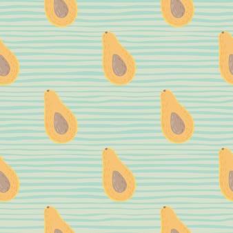 Einfache orange avocados halb formt nahtloses muster