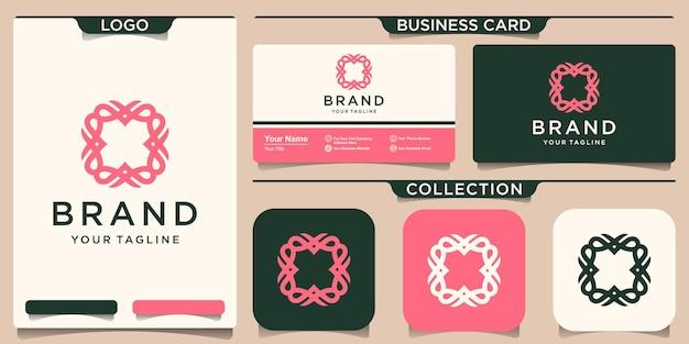 Einfache ornamentrahmen-logo-vorlage und visitenkarten-design