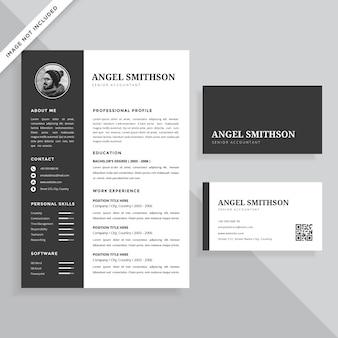Einfache professionelle lebenslauf lebenslauf und visitenkarte vorlage design-set