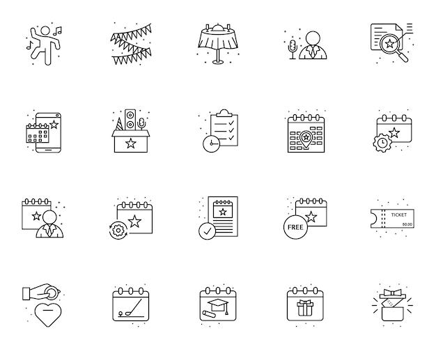 Einfache reihe von event-management-symbole in linienart