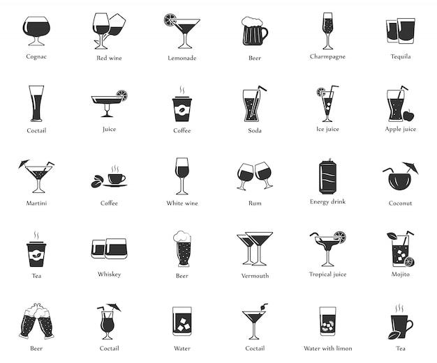 Einfache reihe von getränken icons.