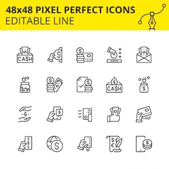 Einfache reihe von icons für geldtransaktionen, überweisungen, wertpapiere, bankeinzahlungen, geldabhebungen an geldautomaten, verfahren für die finanzielle absicherung und einsparungen, verwendung von kreditkarten. pixel perfekte symbol.