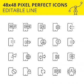Einfache reihe von icons für telefondienste. sammlung beweglicher technologieentwurfssymbole. enthält symbole wie handy, support, aufladen, sms usw. pixel perfect. linie. .
