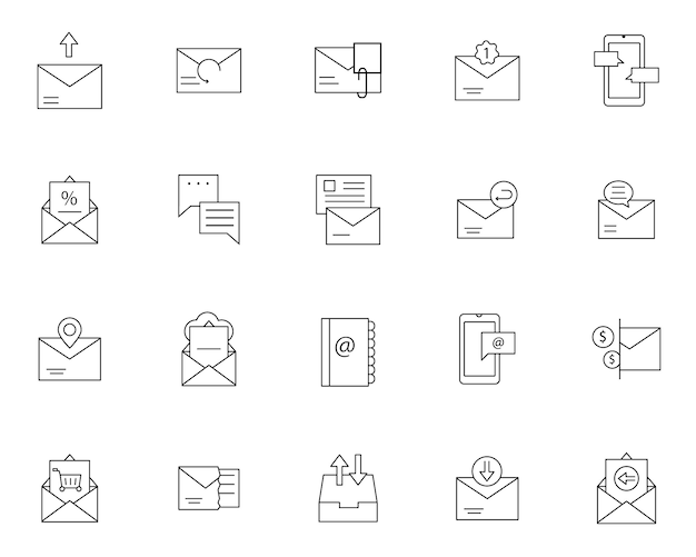 Einfache reihe von nachrichten per e-mail verwandte symbole in linienart