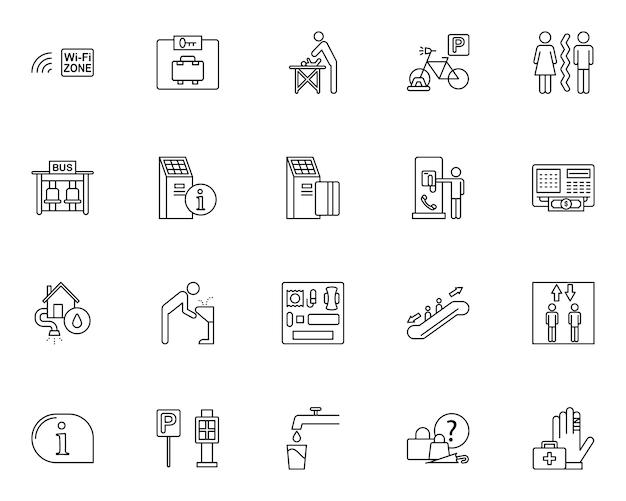 Einfache reihe von öffentlichen dienstleistungen im zusammenhang mit symbolen in linienart