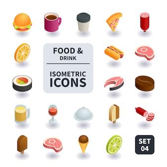 Einfache reihe von speisen und getränken icons.