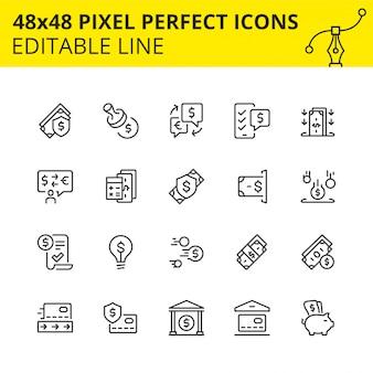 Einfache reihe von symbolen für geldtransaktionen, währungsumrechnung, bankeinzahlungen, bargeldbezug am geldautomaten, verfahren für die finanzielle absicherung und einsparungen, verwendung von kreditkarten. pixel perfekte ikone.