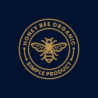 Einfache retro- weinlese des honigbienen-bioproduktaufklebers