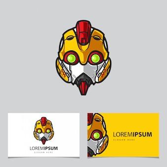 Einfache roboter-maskottchen-logo-namen-karten-schablone