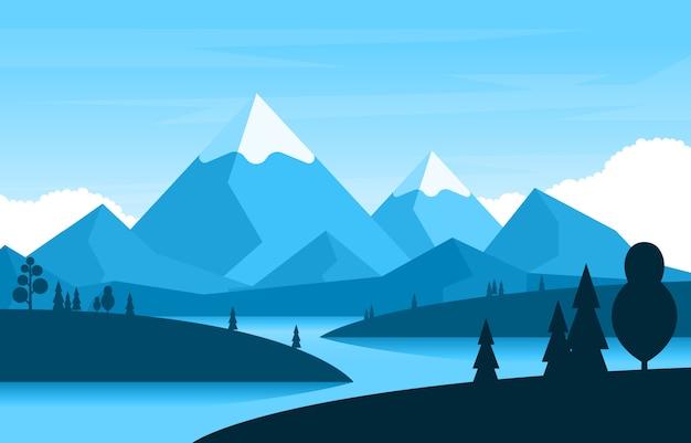 Einfache ruhige gebirgswald-wilde natur-szenen-landschafts-monochrome illustration