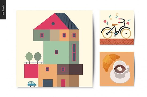 Einfache sachen, postkarten eingestellt