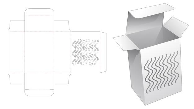Einfache schachtel mit schablonen-stanzschablone mit gebogenen linien