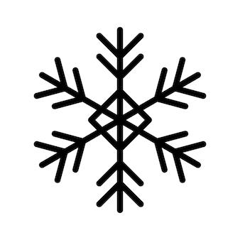 Einfache schneeflocke aus schwarzen linien. festliche dekoration für silvester und weihnachten