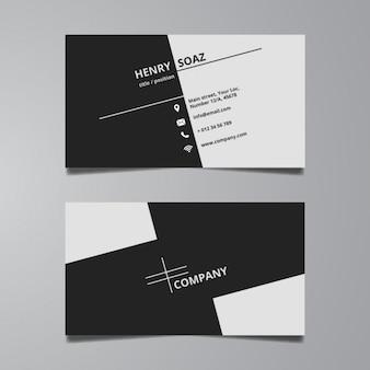 Einfache schwarz-weiß-visitenkarte-schablone
