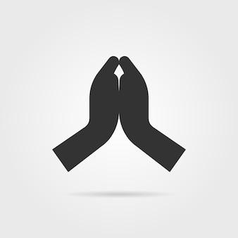 Einfache schwarze betende hände mit schatten. konzept von lob, unterstützung, segen, shrift, hinduist, dankbarkeit, bibel. auf grauem hintergrund isoliert. flacher stiltrend moderne logo-design-vektor-illustration
