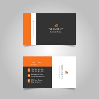 Einfache schwarze orange visitenkarte