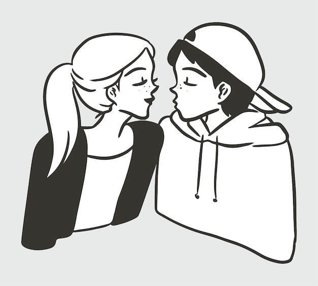 Einfache schwarze weiße illustration des niedlichen kusses des jungen charakters