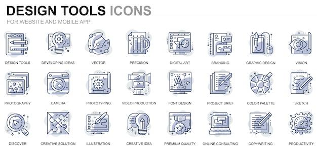 Einfache set design tools linie icons für website und mobile apps