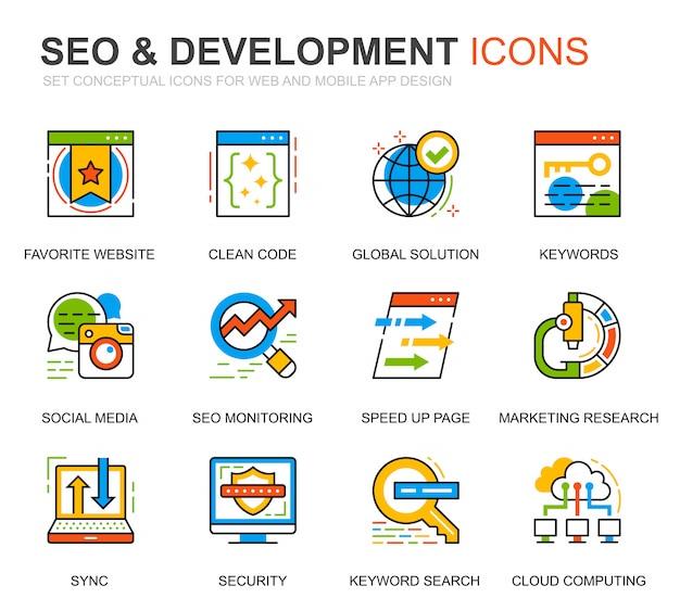 Einfache set seo und development line icons für website