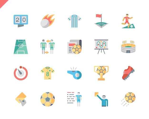 Einfache set soccer flat icons für website und mobile apps.