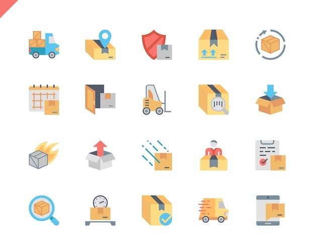 Einfache set-versand-flache ikonen für website und bewegliche apps.