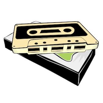 Einfache skizze der klassischen audiokassette