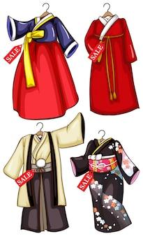 Einfache skizzen der zum verkauf stehenden asiatischen kostüme