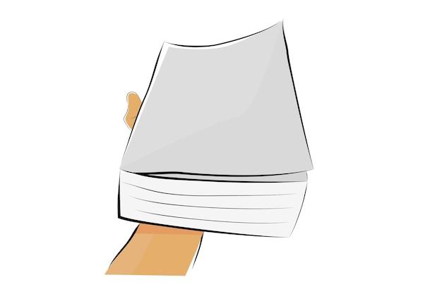 Einfache skizzen-vektor-illustration für bildung verwandter artikel, hand mit großem buch