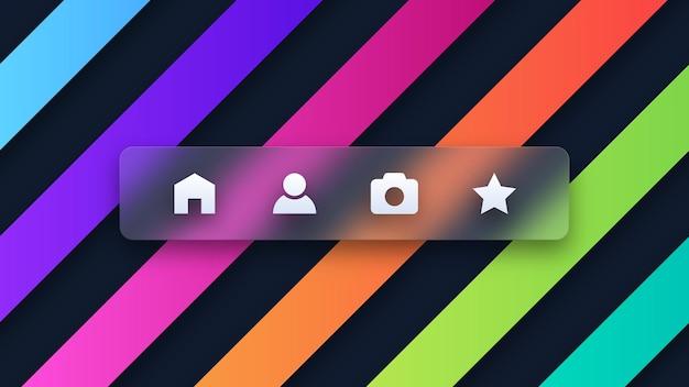 Einfache social-media-symbole auf buntem hintergrund