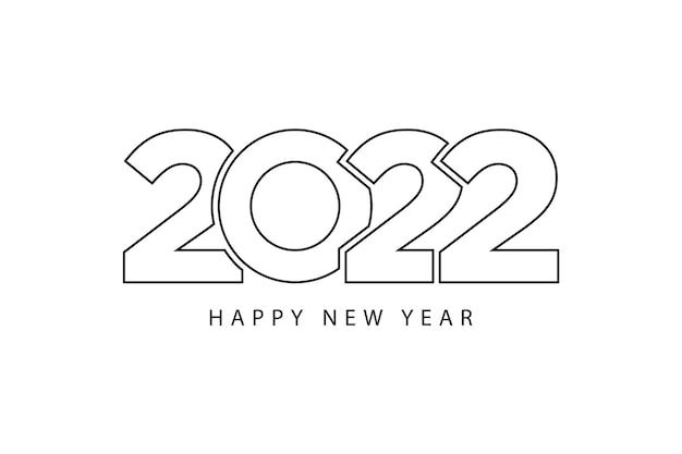 Einfache stillinien frohes neues jahr 2022 schwarz-weiß-thema. vektor-illustration.