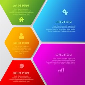 Einfache stilvolle fünffarbige infografik-vorlage im puzzle-stil.