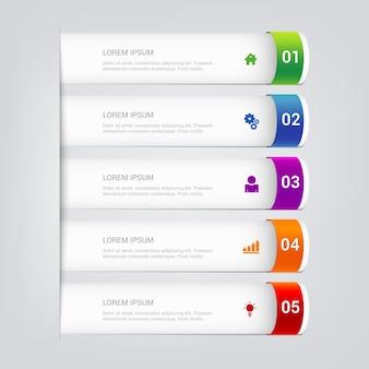 Einfache stilvolle mehrfarbige röhren-infografik-vorlage. Premium Vektoren