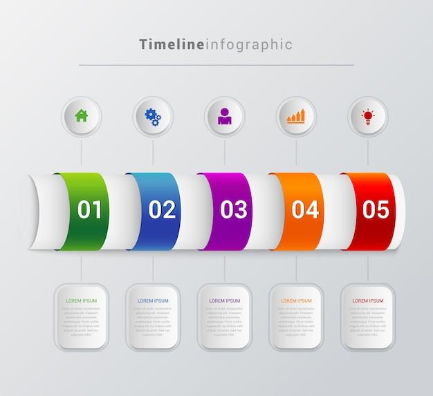 Einfache stilvolle mehrfarbige tube timeline schritte infografik Premium Vektoren
