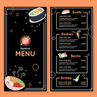 Einfache sushi-menüvorlage