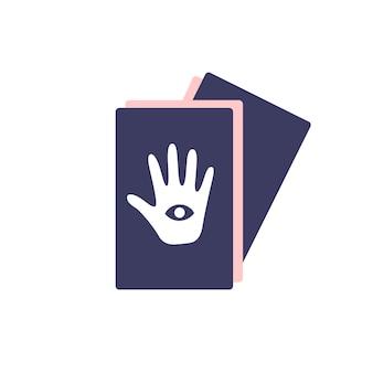 Einfache tarotkarten mit hand zum wahrsagen auf weißem hintergrund. attribute für magie und hexerei. hand gezeichneter vektor lokalisierte einzelne illustration.