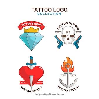 Einfache tattoo-logo-kollektion