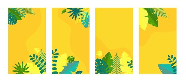 Einfache tropische palmen und motstera blätter natürliches set