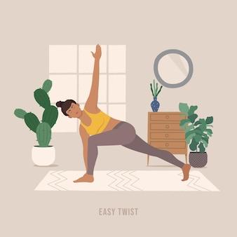 Einfache twist-pose junge frau, die yoga-pose praktiziert