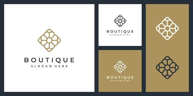 Einfache und elegante blumenmonogrammschablone, logoentwurf