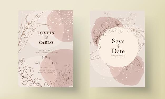 Einfache und elegante hochzeitseinladungskarte mit blumen