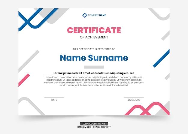 Einfache und moderne zertifikatsvorlage