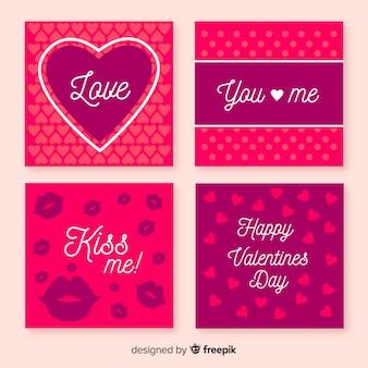 Einfache valentinstagkartensammlung