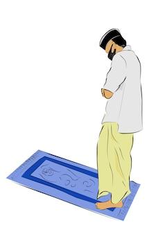 Einfache vector hand draw sketch, muslim oder islam mann, mit maske, shalat oder gebet auf der gebetsmatte