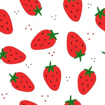 Einfache vektor nahtlose muster erdbeere auf weißem hintergrund doodle flach gezeichnete texturen