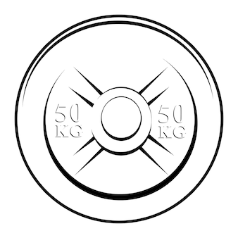 Einfache vektor-schwarz-weiß-hantelplatte, isoliert auf weiß
