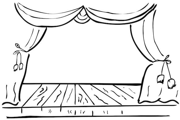 Einfache vektorhandskizze holzbühne und vorhang für gestaltungselement