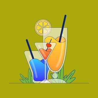 Einfache vektorillustration über cocktail